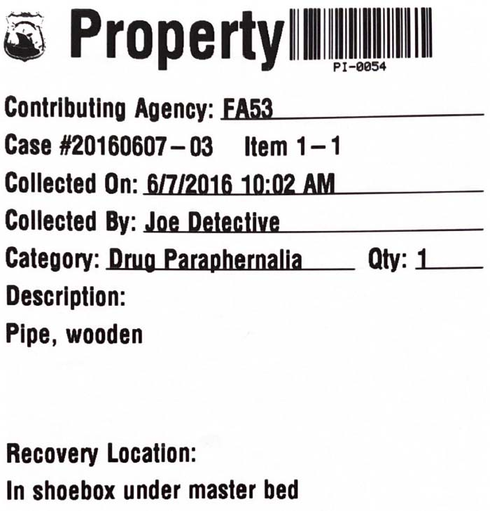 Property Barcode Label