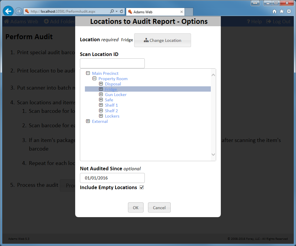 Run Location to Audit Report